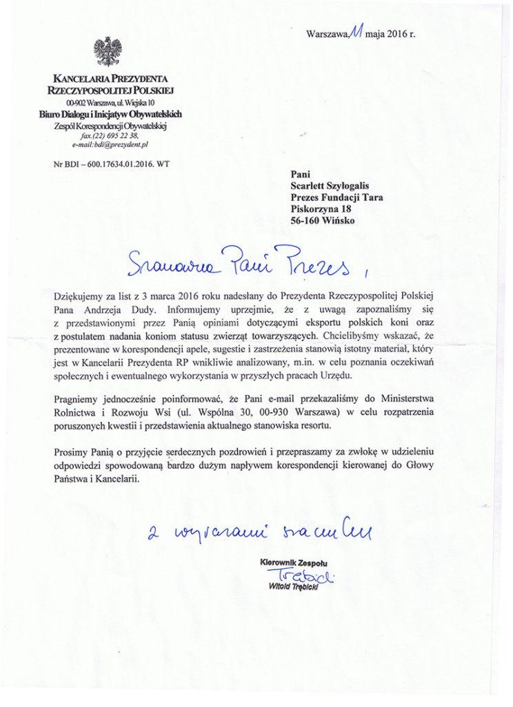 Odpowiedź Kancelarii Prezydenta Andrzeja Dudy
