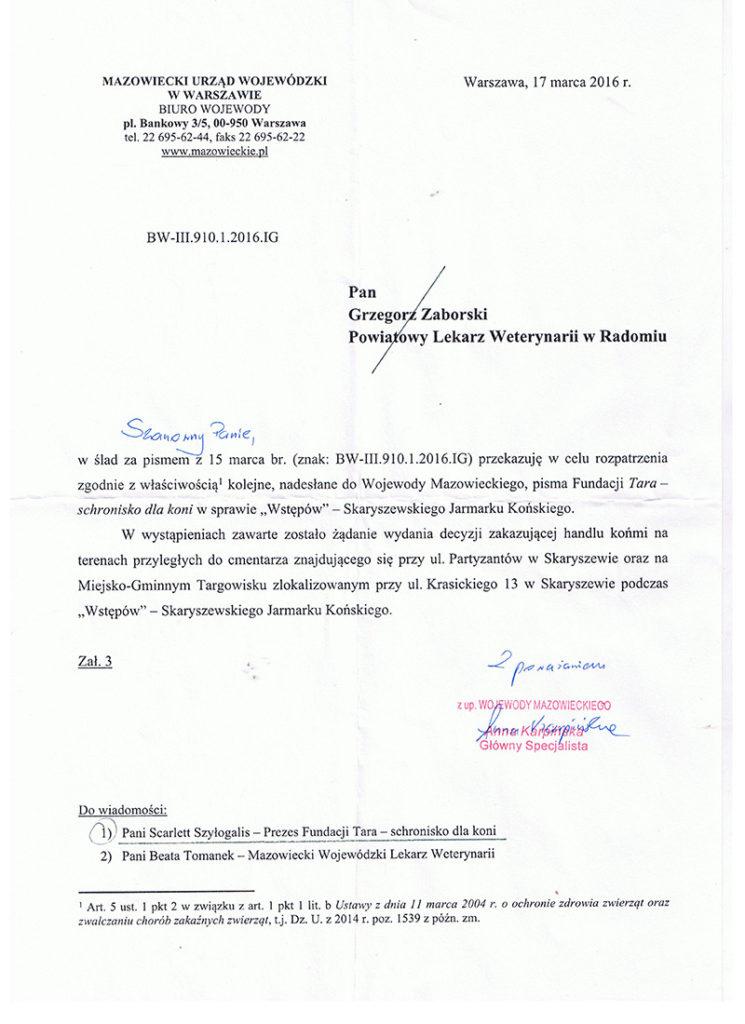 Odpowiedź Urząd Wojewódzki ws Skaryszewa 2