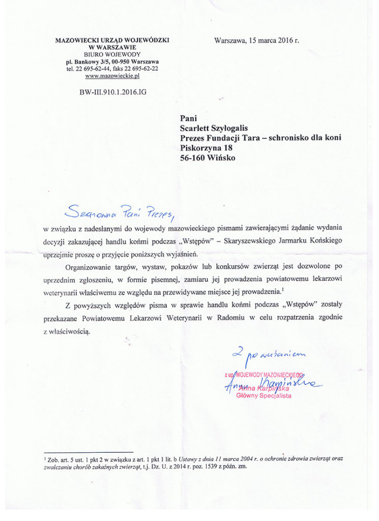 Odpowiedź Urząd Wojewódzki ws Skaryszewa Scarlett