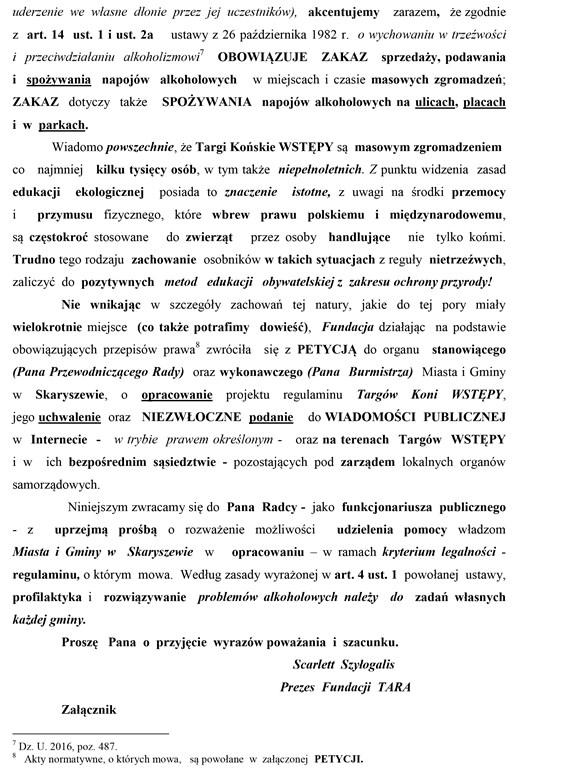 Pismo do oddziału prawnego
