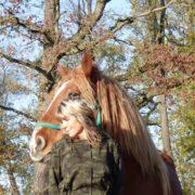 kobieta przy koniua